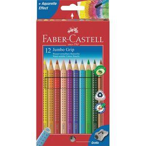 Faber Castell Jumbo Grip Farbstifte wasservermalbar, Namensfeld, 12 Stück im Etui