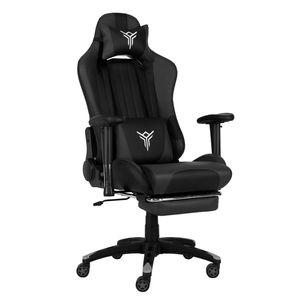 Massage Racing Gaming Stuhl Bürostuhl Chefsessel Schreibtischstuhl mit Kopfstützen höhenverstellbarer Computerstuhl (Schwarz& Grau)