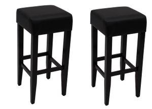 DEGAMO Barhocker Barstuhl BODEGA, Gestell Akazienholz schwarz, Sitz Kunstleder schwarz, 2 Stück