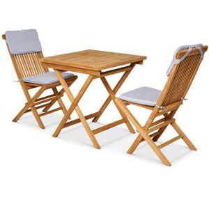 Garland 3tlg Sitzgruppe Bristol Teak Holz Balkonset 2 Gartenstühle Klappbar Armlehnen Gartenmöbel Garten Balkonmöbel Set
