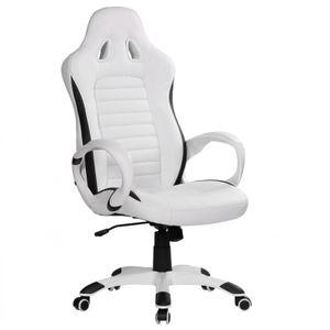 AMSTYLE Bürostuhl/Schreibtischstuhl RACER Leder-Optik, Weiß