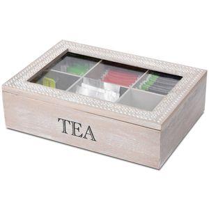 Wohaga® Aufbewahrungsbox Tea mit Sichtfenster 24x17x7cm