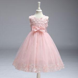 Mädchen Kinder Blumen und Schleifen Spitze Tüll Hochzeit Kleid Prinzessin Kleider Party Kleid, Rosa, 120cm
