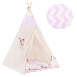 Tipi Zelt Kinder Spielzelt Baumwolle 2 Kissen Kinderzelt 160x120x100 cm - Rosa/Streifen