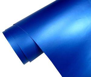Autofolie blau metallic matt - blau metallic - 100 x 152 cm Meterware mit Luftkanälen , Car Wrapping Nachbildung Folie