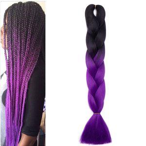S-noilite Braids Extensions Flechten Hair Extensions Jumbo Crochet Haar Kunsthaar Kanekalon Colorful 1pcs 60 cm-100 g Schwarz bis Lila