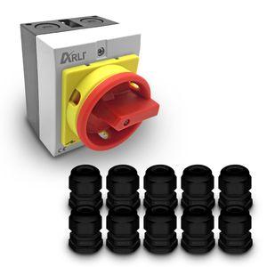 ARLI Hauptschalter 16A 4-polig mit Kunststoffgehäuse 4P16A-G + 10x Kabelverschraubung M20 schwarz