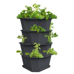 PAUL POTATO Starter 4 Etagen inkl. Untersetzer - Kartoffelturm - stapelbar - Hochbeet/Pflanzgefäß/Blumentopf