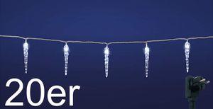 20er LED Eiszapfen Lichterkette Weihnachten Eis Zapfen Lichterkette erweiterbar weiß