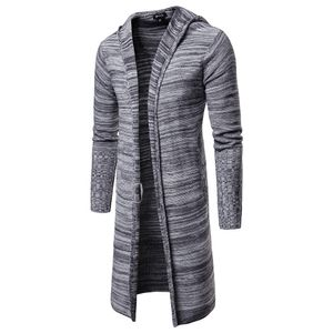 Herren Kapuze Solid Knit Trenchcoat Jacke Strickjacke Langarm Outwear Bluse Größe:XL,Farbe:Grau