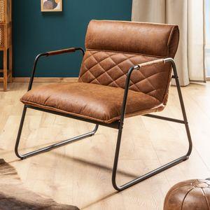 Retro Lounge Design Sessel MUSTANG LOUNGER antik hellbraun mit Ziersteppung