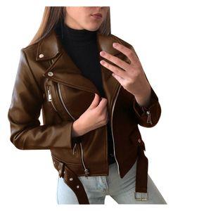 Frauen Coole Kunstlederjacke Langarm-Reißverschluss Fitted Coat Fall Short Jacket Größe:L,Farbe:Braun