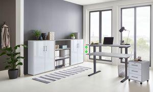 Büromöbel komplett Set mit elektrisch höhenverstellbaren Schreibtisch Arbeitszimmer e-Dition in Lichtgrau/Weiß Matt Gestell Anthrazit… (Set 9)