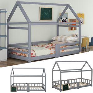 Kinderbett Hausbett DESIGN Grau 90x200cm Zaun Kinder Bett Holz Haus Hausbett   mit Tafel   Lattenrosten  Rausfallschutz, aus Kiefernholz,