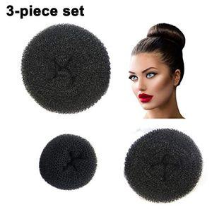 3 Stück Frauen Damen Haar Chignon Bun Donut Shapers Knotenring Duttkissen Haarknoten Knotenrolle Haarschmuck
