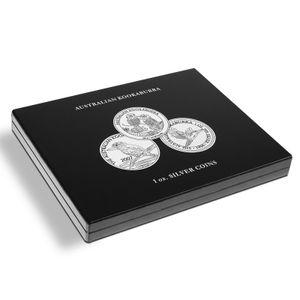 Leuchtturm Münzkassette Kookaburra Panda Silbermünzen Unzen Sammelbox Holz, Herstellernummer:346441, Variante:Für Kookaburra Silberunzen. 346441