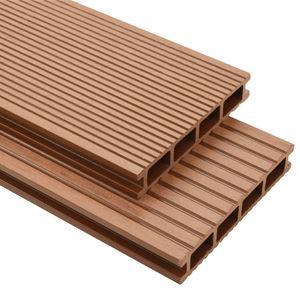 Modern WPC Terrassendielen mit Montagezubehör 30 m² 2,2 m Braun