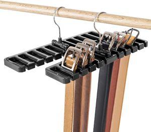 Gürtelhalter, 10 Schlitze, für Krawatte, Gürtel, Schal und Halstuch aus stabilem Kunststoff für Kleiderschrank, platzsparend, Gürtelbügel mit Metallhaken - Schwarz