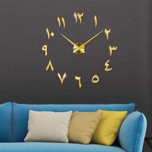 3D Arabische Wanduhr große Moderne Mute DIY - Dekoration Geschenk - Wohnzimmer Home Office (Gold)