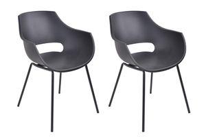 SIT Möbel Stuhl 2er-Set | Sitzschale Kunststoff schwarz | Gestell Metall schwarz | B 51 x T 57,5 x H 85 cm | 02459-11 | Serie SIT&CHAIRS