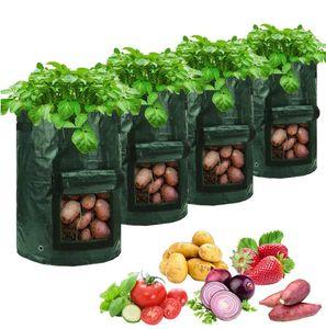 5 Stück Pflanztasche Kartoffel Tomaten Erdnüsse 10 Gallone PE Pflanzsack Atmungsaktiv Pflanzbeutel Gemüse Beutel, Grün