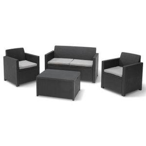 Allibert Gartenmöbel Merano 4-Sitzer - mit Tisch / Truhe mit Aufbewahrungsfunktion - Grau