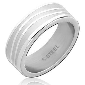 viva-adorno Gr. 60 (19,1 mm Ø) Damen Herren Ring Bandring glänzende Wellen Fingerring Edelstahl Ring matt gebürstet RS61d