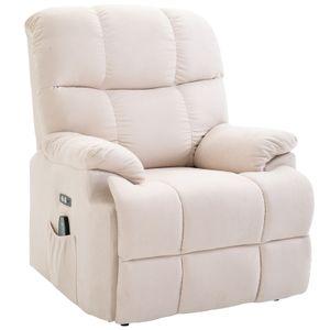 HOMCOM Massagesessel Aufstehhilfe Relaxsessel mit Wärmefunktion USB Fernbedienung Kurzplüsch Creme 94 x 96 x 104 cm