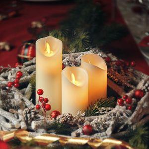 LED Kerzen Stumpenkerzen Fernbedienung Timer flackernde Echtwachs Kunststoff, Farbe:3er LED Kerzen aus Plastik