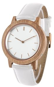 Funk-Armbanduhr Damen, Holzgehäuse, Leder-Uhrband