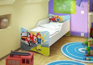 Best for Kids Kinderbett 80x160 cm mit Matratze und Rausfallschutz Feuerwehr
