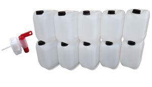 10 Stück 10 Liter Kanister, Wasserkanister Farbe natur DIN51 + 1 Stück  Auslaufhahn (10x10knn51 + H.51)