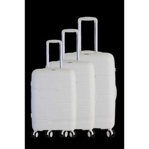 FRANKREICH TASCHE Set mit 3 multidirektionalen 8-Rad-Koffern aus Polypropylen Weiß