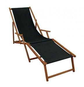 Liegestuhl schwarz Sonnenliege Fußteil Gartenliege Holz Deckchair Strandstuhl Gartenmöbel 10-305 F