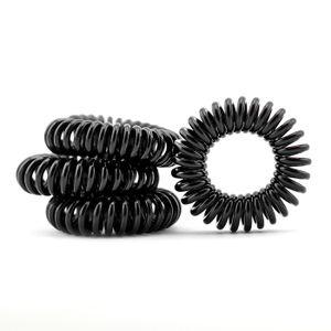 Haargummi im Telefonkabel Design (Kunststoff-Spirale),Telefonkabel, elastisch, Spiralhaargummi, Haarschmuck m 4er Set in der Farbe schwarz