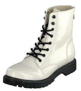 Jane Klain Damen Schuhe Boots Stiefel 252-449 Weiß Lack Reißverschluss
