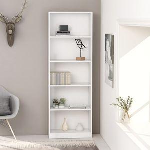 [BEST SELLER] Bücherregal/Standregal/Wohnzimmerregal/Büroregal/Raumteiler/Hochregal Modern-Design 5 Fächer Weiß 60 x 24 x 175 cm Spanplatte*9316