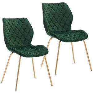 Duhome 2er Set Esszimmerstuhl Polsterstuhl aus Stoff Samt Dunkelgrün gesteppt Metallbeine goldfarben