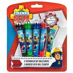 Fasermaler mit Rollstempel | Feuerwehrmann Sam | 5 Stück | Kinder Kreativ Set