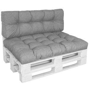 DILUMA Outdoor Palettenkissen Tino Lounge Set in Grau -  Sitzkissen 120 x 80 x 18 cm + Rückenkissen 120 x 40 x 10-20 cm - Lounge Palettensofa Indoor / Outdoor schmutz- und wasserabweisende Palettenauflage
