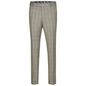 Größe 56 WILVORST Hose Beige Glencheck Slim Line DROP 8 sehr schmal geschnitten Green Wedding 404102/83