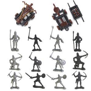 14PCS Ritter Spielzeug, Kunststoff Krieger Mittelalterliche Ritter Pferde Soldat Militärische Aktion Modell Spielzeug, Archaische Soldaten Figuren Spielzeug Geschenk für Junge Kinder