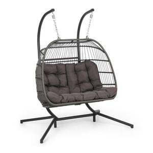 Blumfeldt Biarritz Double Hängesessel  ,  Zweisitzer  ,  Schwingbewegung  , Outdoor & Indoor  ,  Sitzkissen aus Polyester  ,  Sitzkugel aus Polyrattan und Nylon  , Standfuß aus Aluminium  ,  Belastbarkeit: 130 kg  ,  faltbar  ,  dunkelgrau