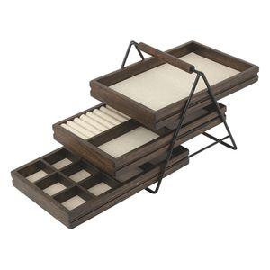 Umbra Terrace Schmucktablett, Schmuck Tablett, Schmuckaufbewahrung, Aufbewahrung, Holz, Schwarz / Walnuß, 25 cm, 1004037-048