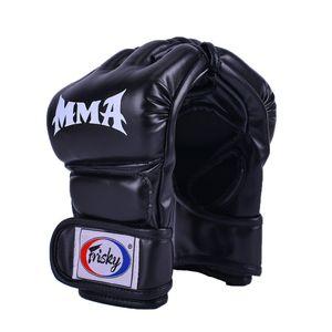 Boxtrainingshandschuhe Taekwondo MMA Punching Martial Half Finger Mitts Schwarz 21x12x4cm
