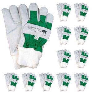 Keiler Forst Schutzhandschuh - Rindnarbenleder, Pulsschutz, weich gefüttert, extra robust, EN388 - VPE 12 Paar Größe:10