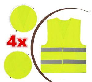 4 x Warnweste Unfallweste Neon Gelb Sicherheitswarnweste KFZ DE