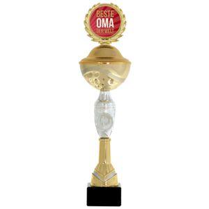 Pokal beste Oma der Welt 31 cm PVC Metall Steinsockel