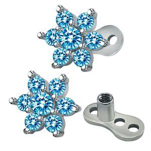 2 pcs Zirkonia Piercing Blumeform Lippe Ringe Brust Nasenstecker Ohrstecker Blau wie beschrieben