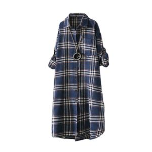 ZANZEA Damen Blusenkleider Kariert Plaid Tartan Langarm Longshirt Tops Mini Kleid, Farbe: Blau, Größe: 2XL